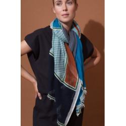 foulard gris bleu