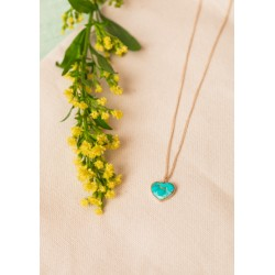 Collier coeur - turquoise