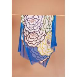 Foulard camélia bleu