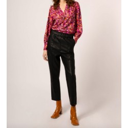 pantalon simili cuir - noir