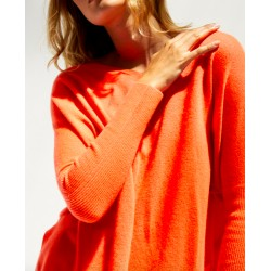 pull cachemire - corail fluo